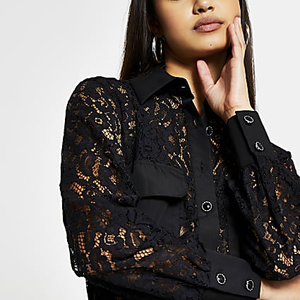 Black long sleeve lace pocket detail shirt