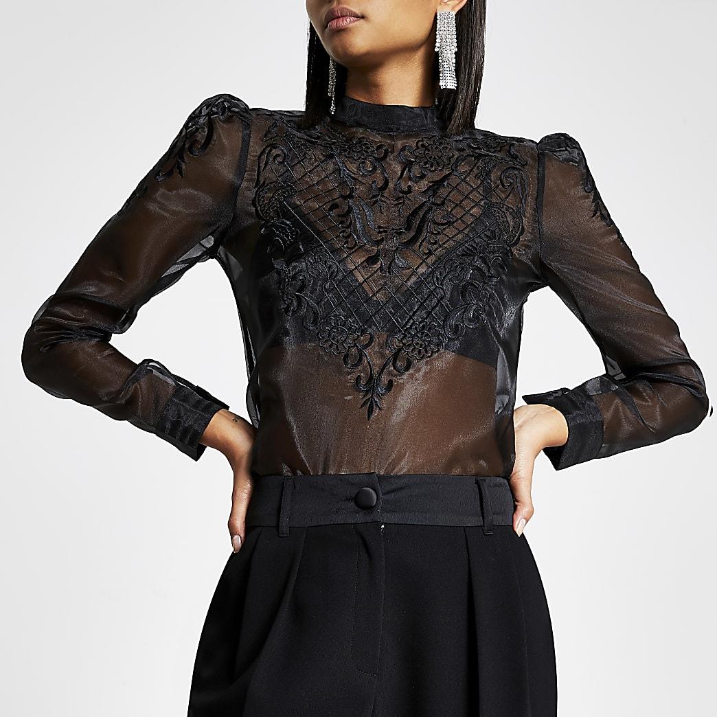 Black long sleeve lace sheer top