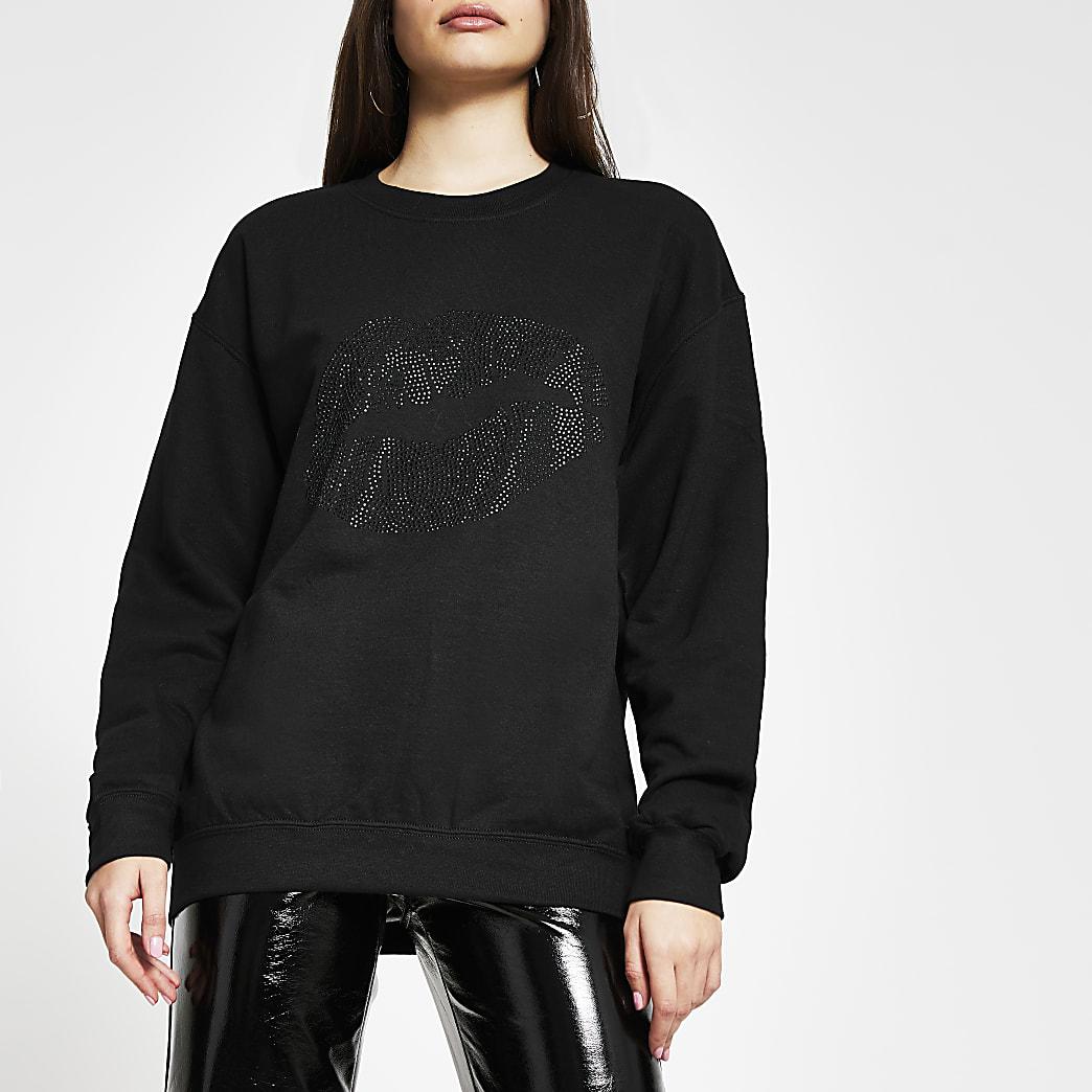 Black long sleeve lips print sweatshirt