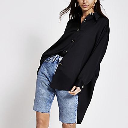 Black long sleeve longline shirt
