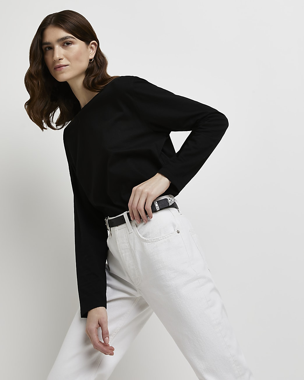 Black long sleeve longline t-shirt