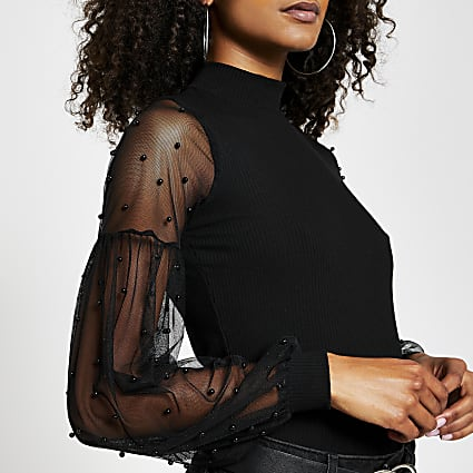 Black long sleeve mesh pearl detail top