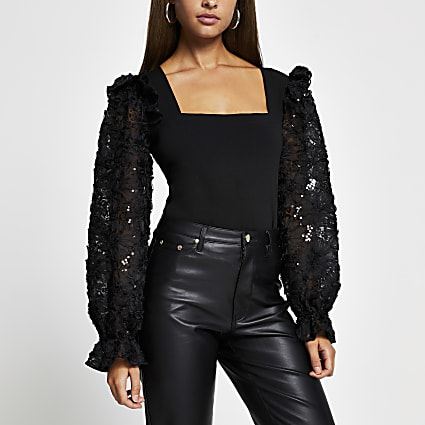 Black long sleeve mesh sequin top