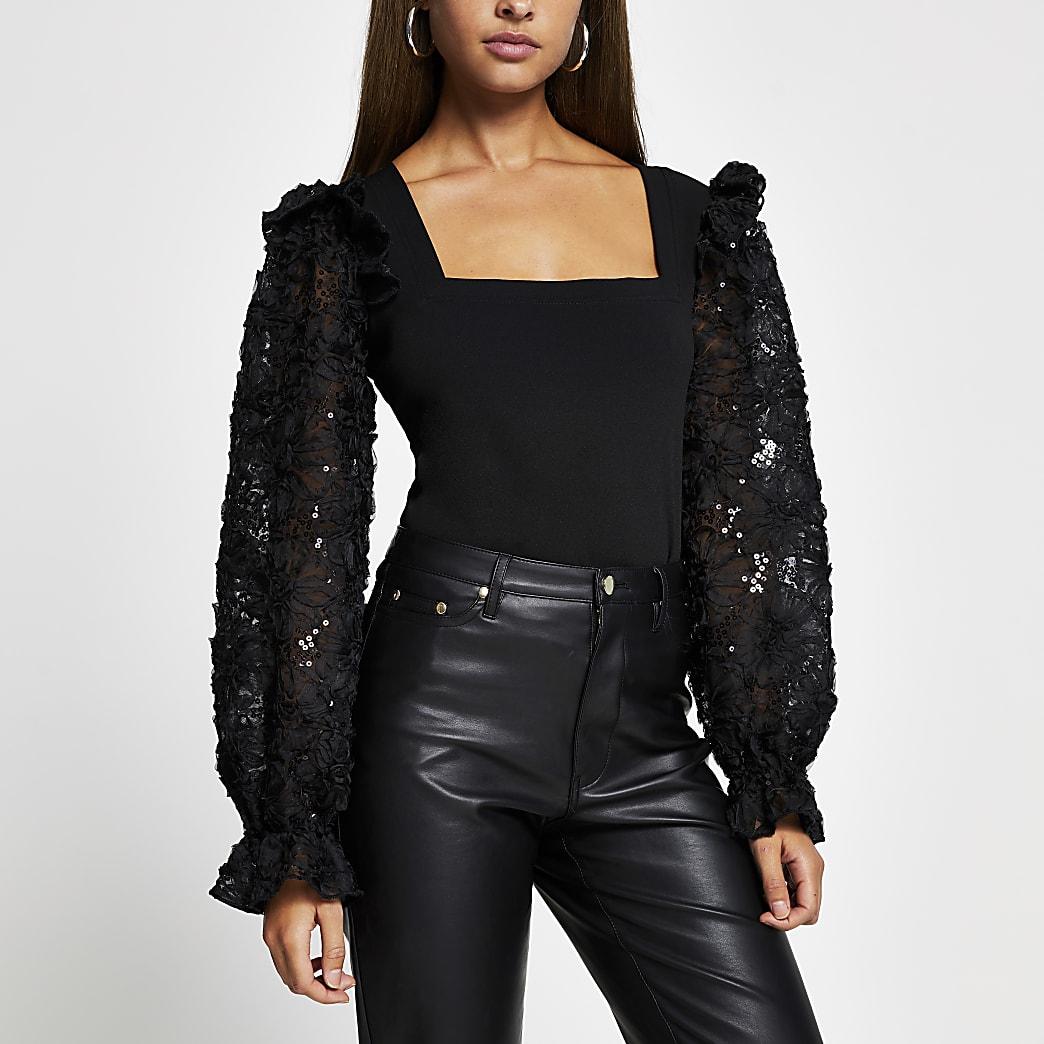 Black long sleeve mesh sequin top