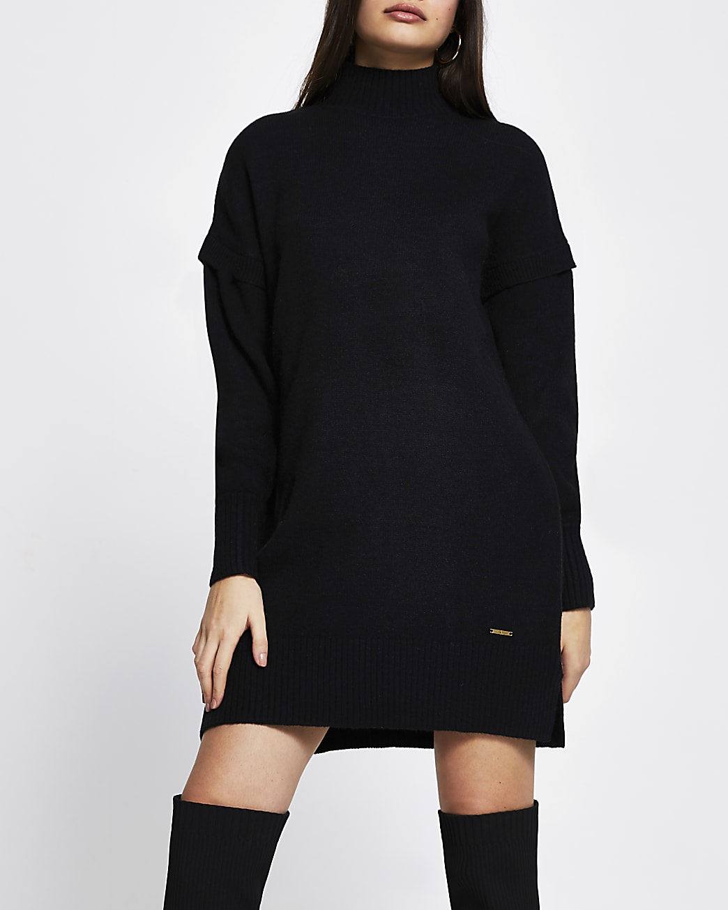Black long sleeve mini jumper dress