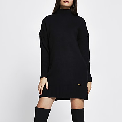 Black long sleeve mini jumper dress