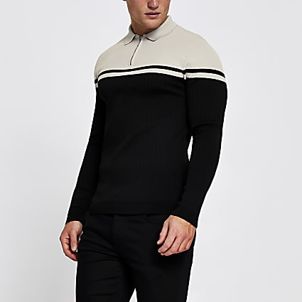 Black long sleeve muscle fit block polo shirt