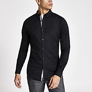 Zwart muscle-fit Oxford overhemd met lange mouwen
