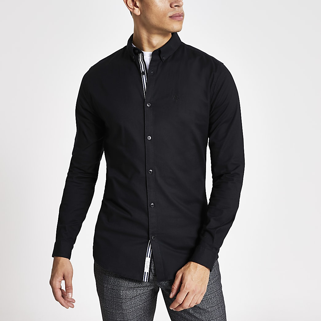 Black long sleeve muscle fit Oxford shirt