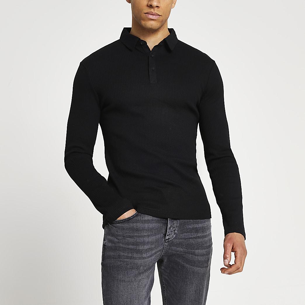 Black long sleeve muscle fit rib polo shirt