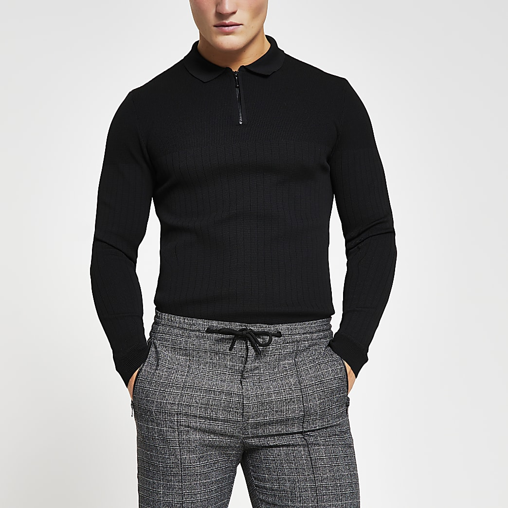Black long sleeve muscle kitted polo shirt