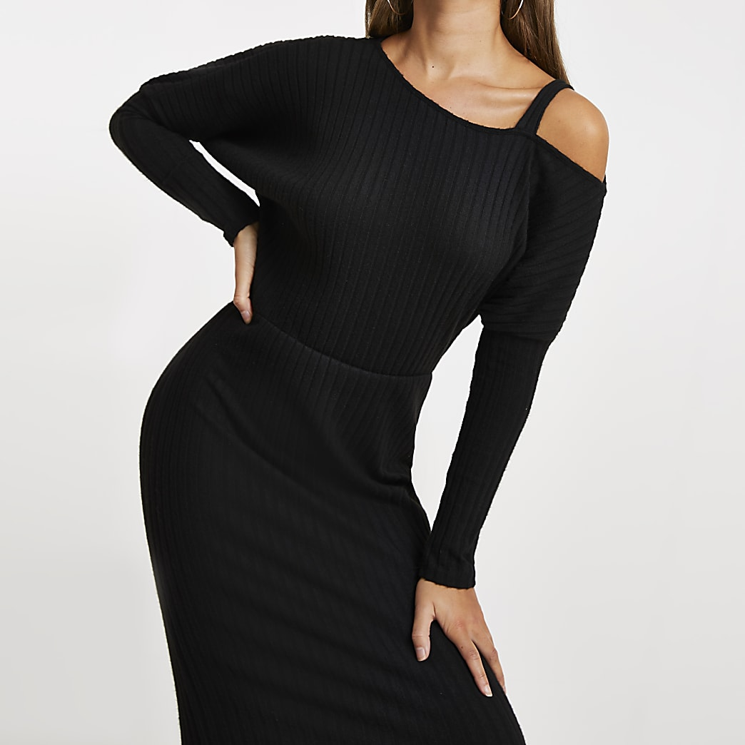 Black long sleeve off shoulder midi dress