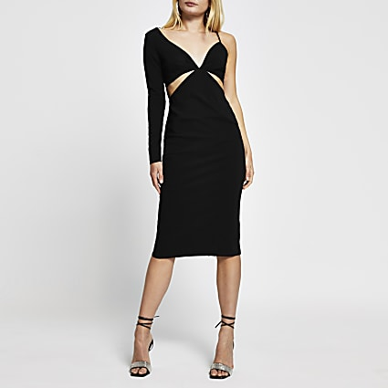 Black long sleeve one shoulder bodycon dress