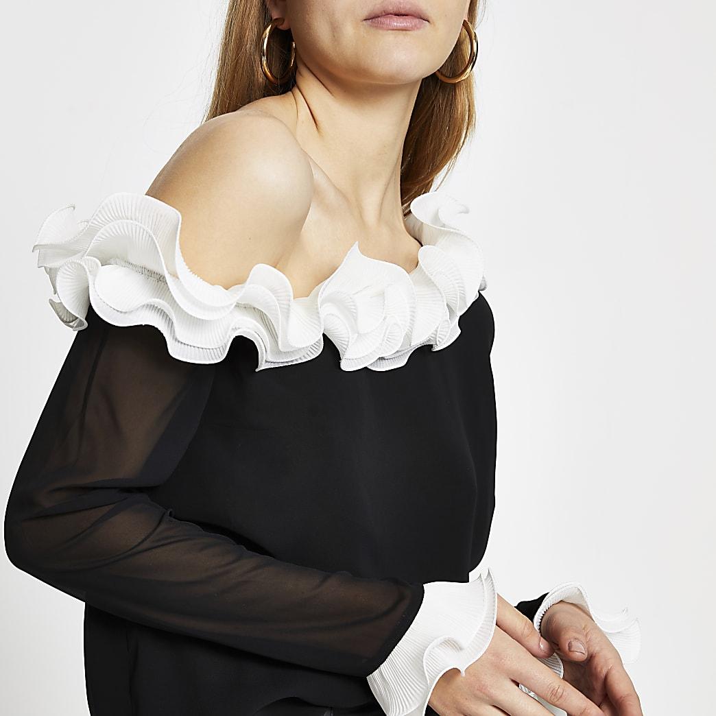 Black long sleeve one shoulder frill top