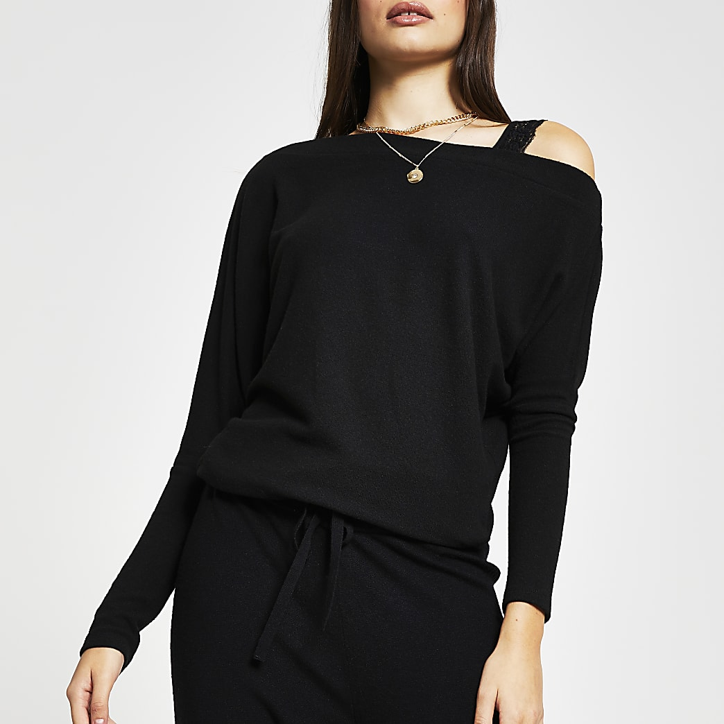 Black long sleeve one shoulder sweatshirt