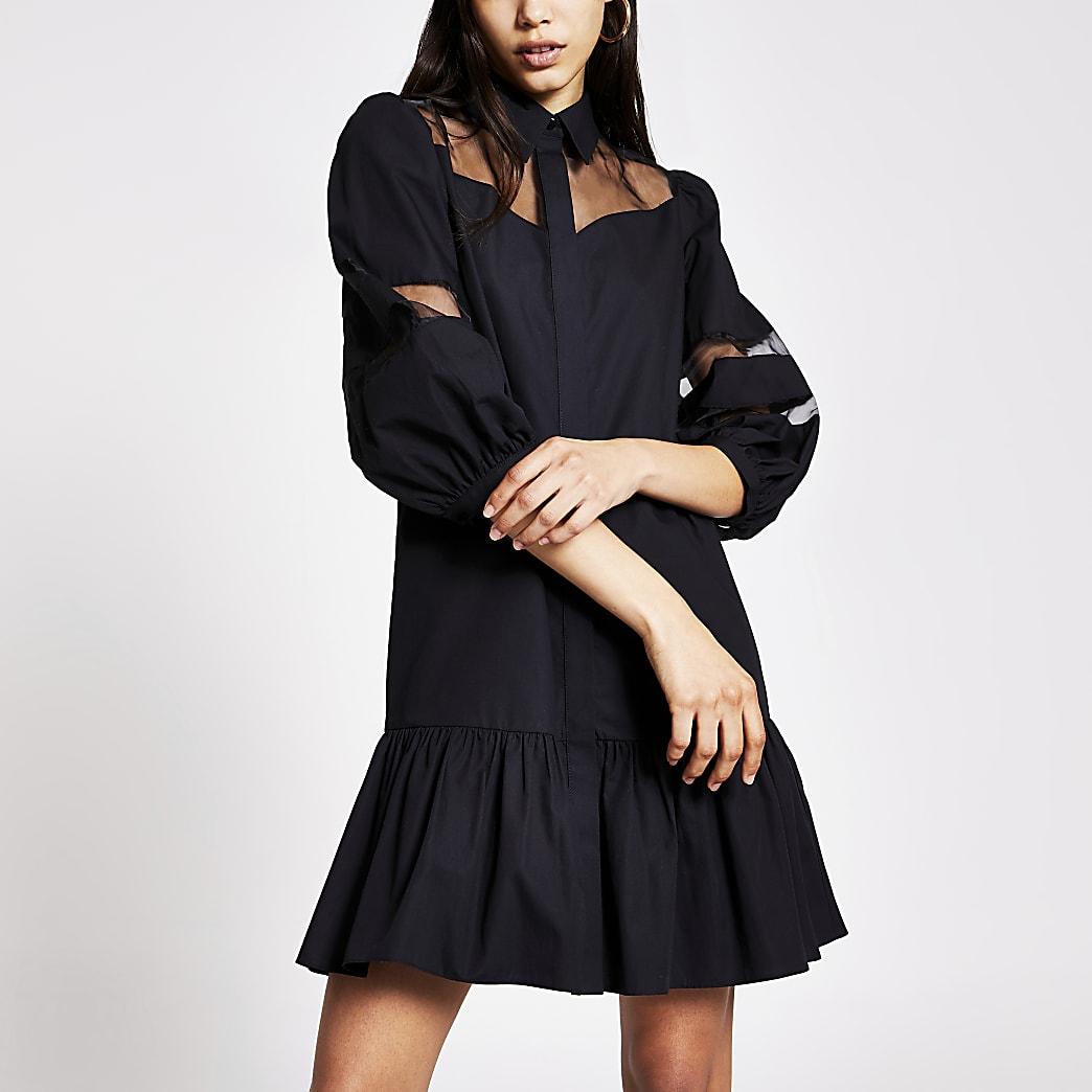 Black long sleeve organza smock dress