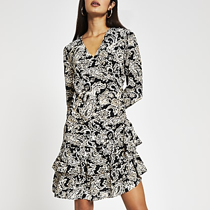 Black long sleeve paisley frill hem dress