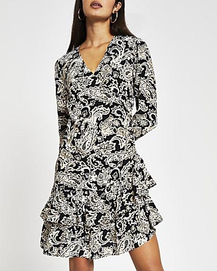 Black long sleeve paisley frill hem dress