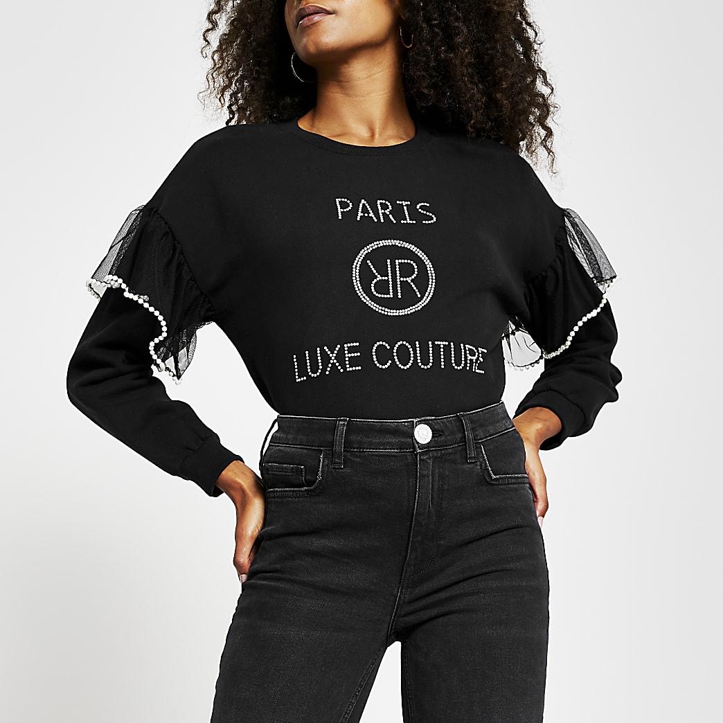Black long sleeve 'Paris' sweatshirt