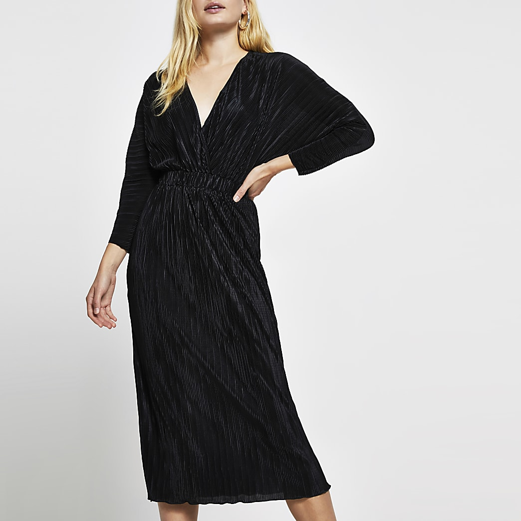 Black long sleeve plisse wrap midi dress