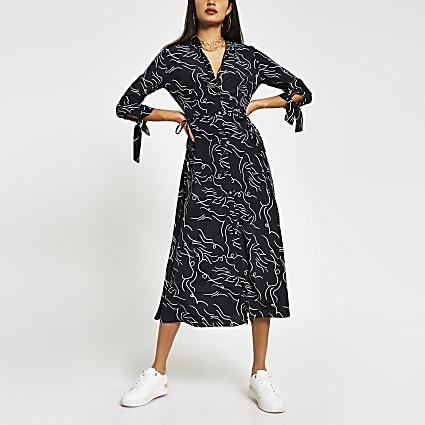 Black long sleeve print side split midi dress