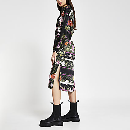 Black long sleeve printed midi shirt dress