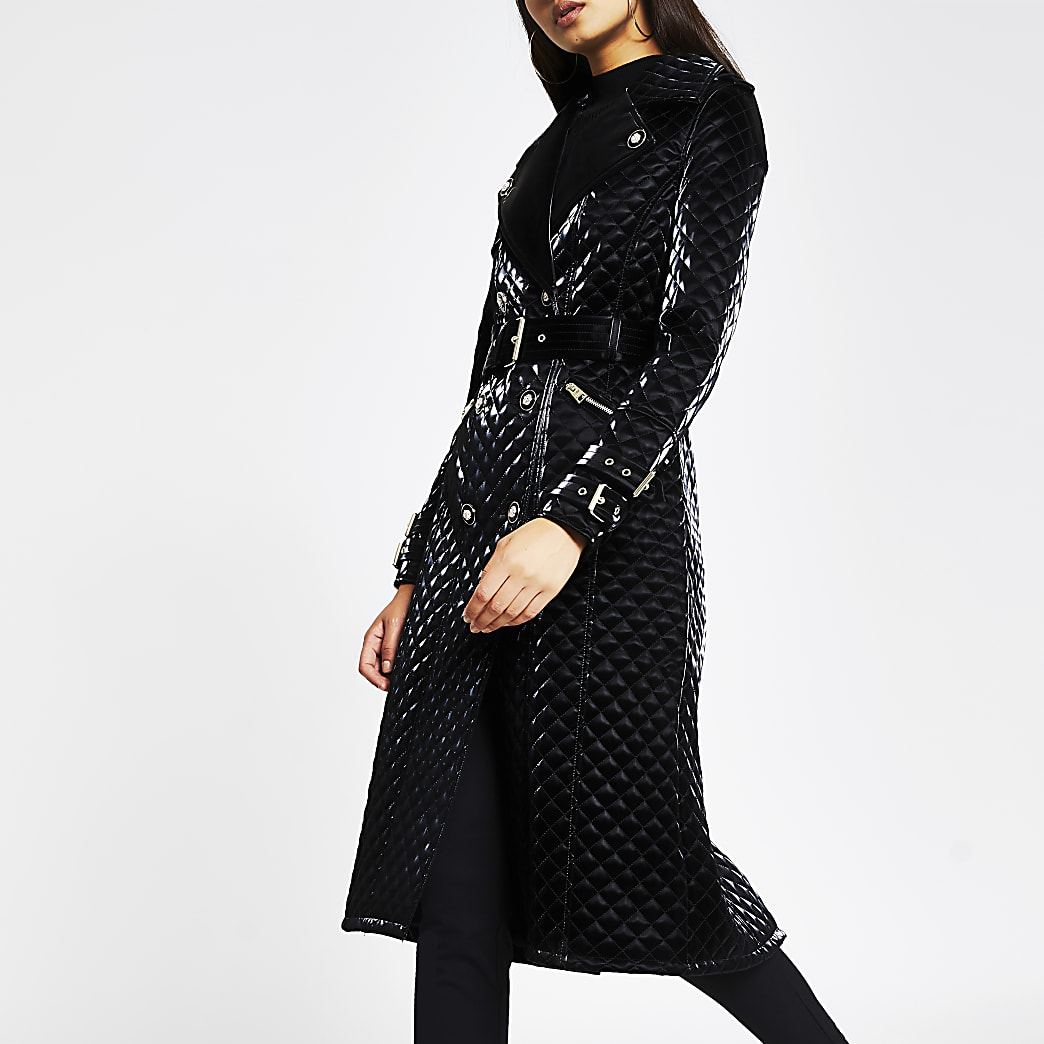 Black long sleeve quilted Faux Leather Coat