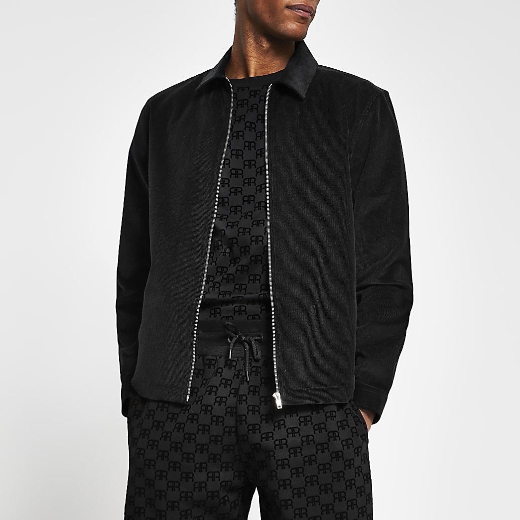 Black long sleeve regular fit cord shacket