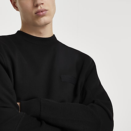 Black long sleeve regular fit sweatshirt