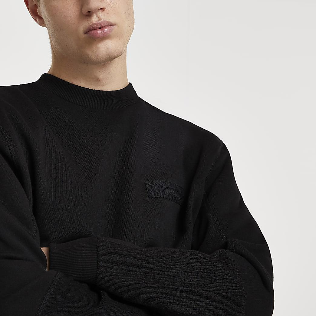 Black long sleeve regular fit sweatshirt