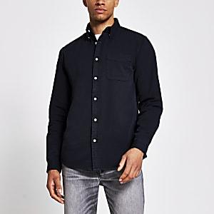 Zwartregular-fit overhemd met lange mouwen van keperstof