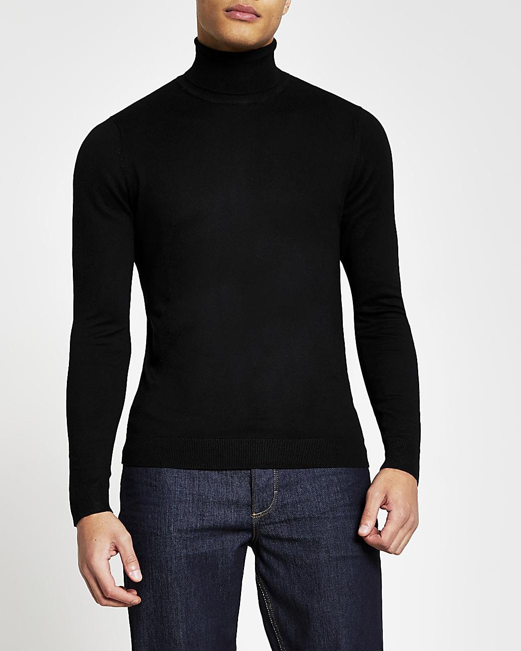 Black long sleeve roll neck jumper