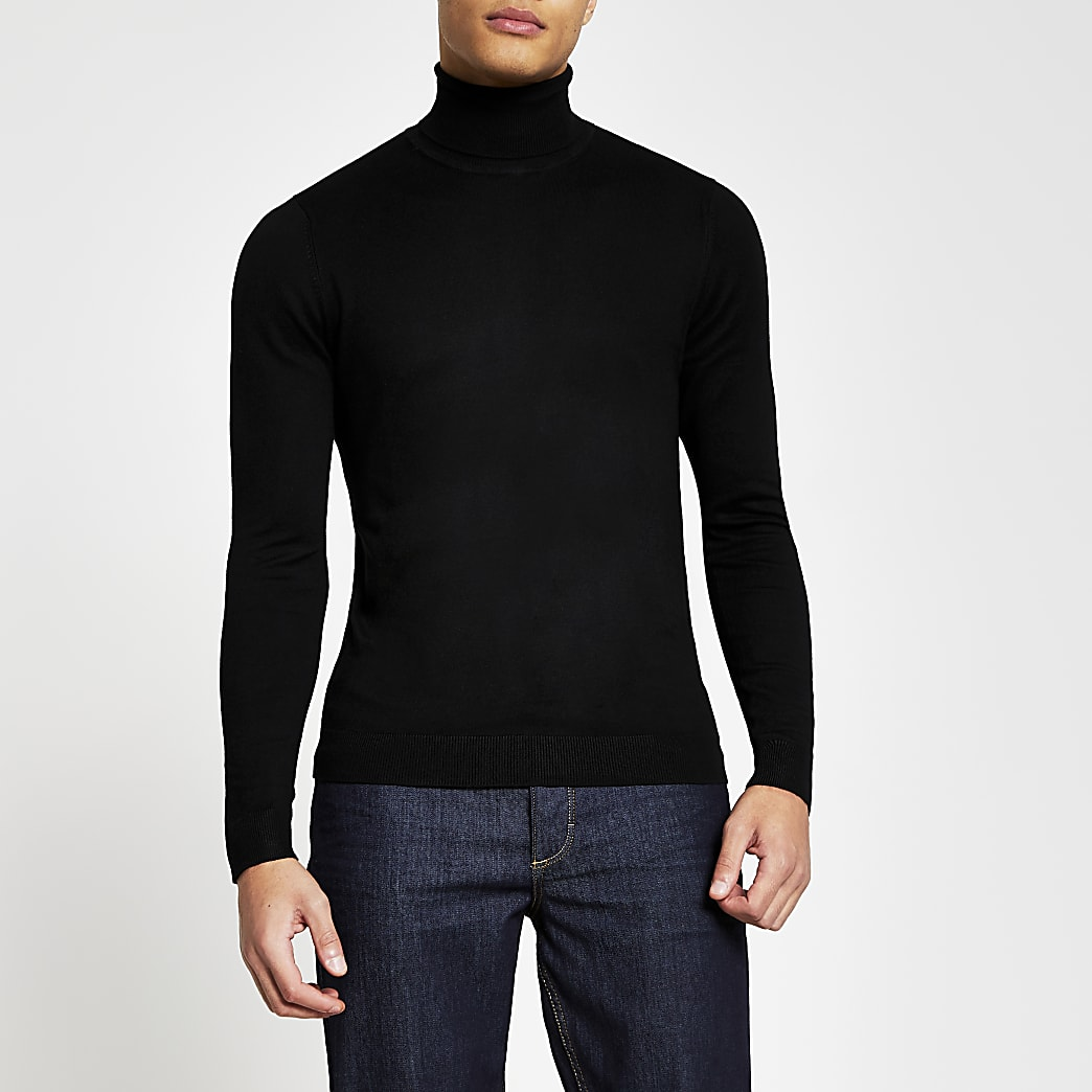 Black long sleeve roll neck jumper