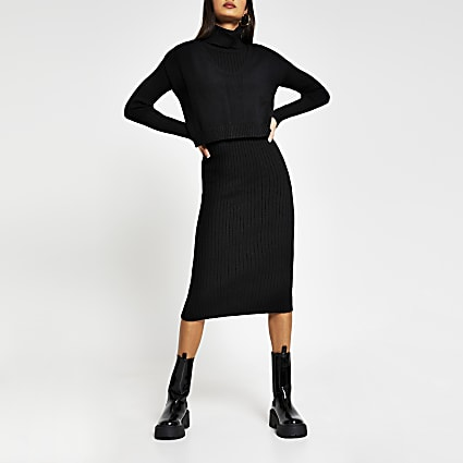 Black long sleeve roll neck layered dress