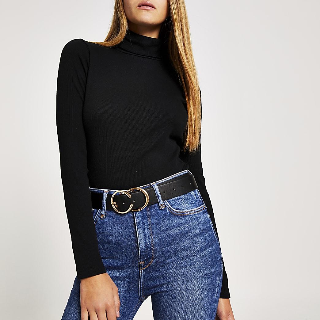 Hautcôtelé noir avec manches longues et col montant