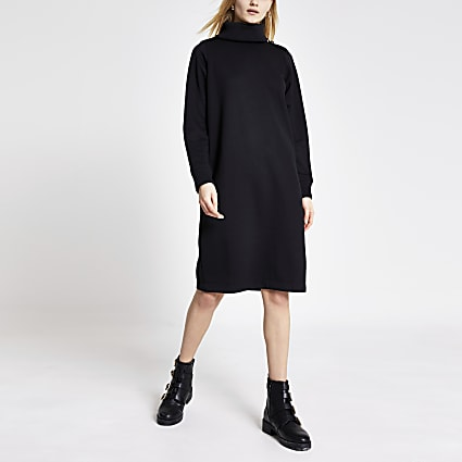 Black long sleeve roll neck sweatshirt dress