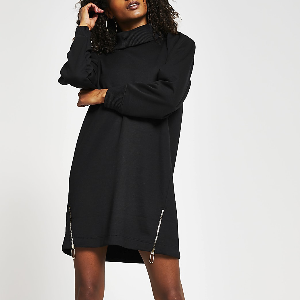 Black long sleeve roll neck zip jumper dress