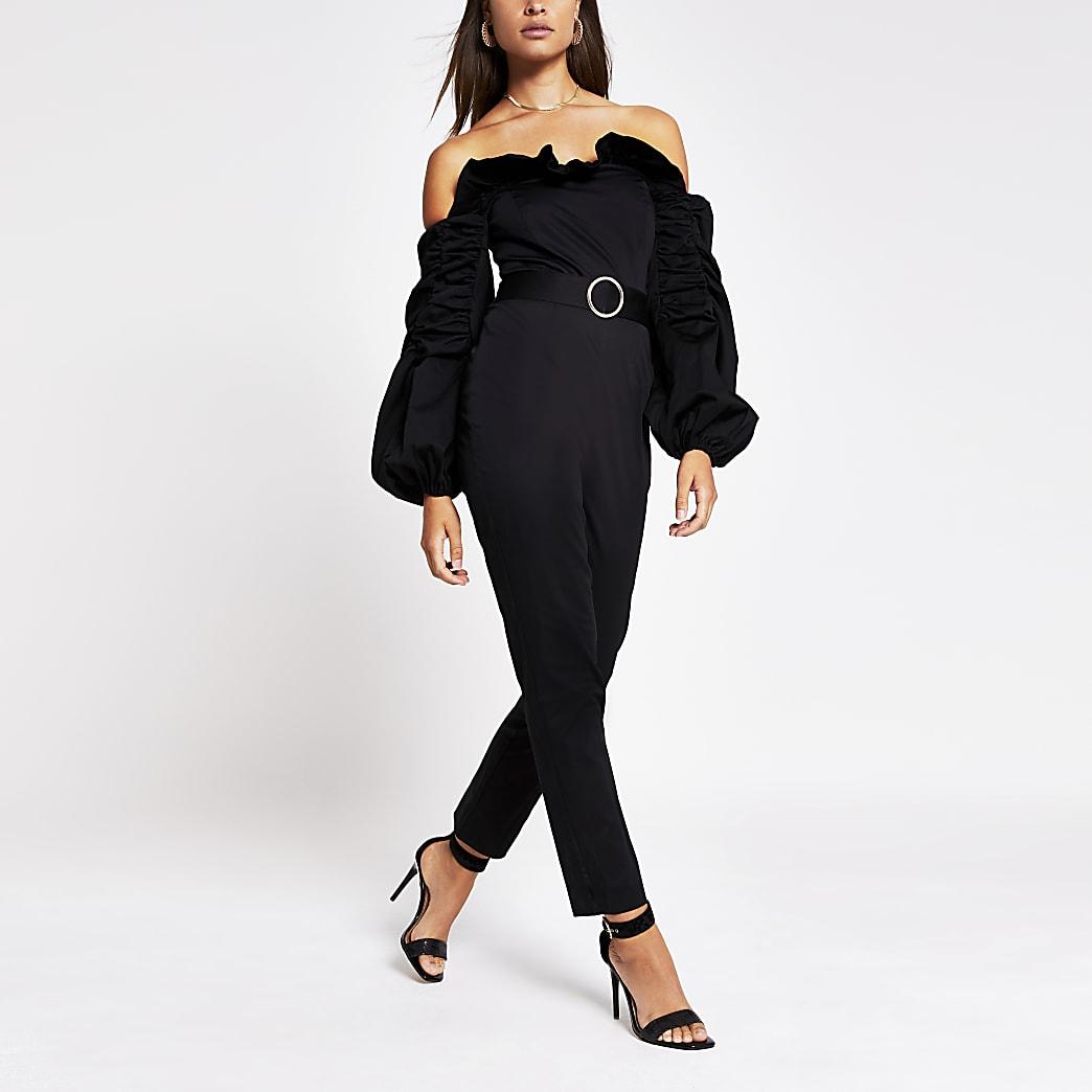 Black long sleeve ruffle bardot jumpsuit