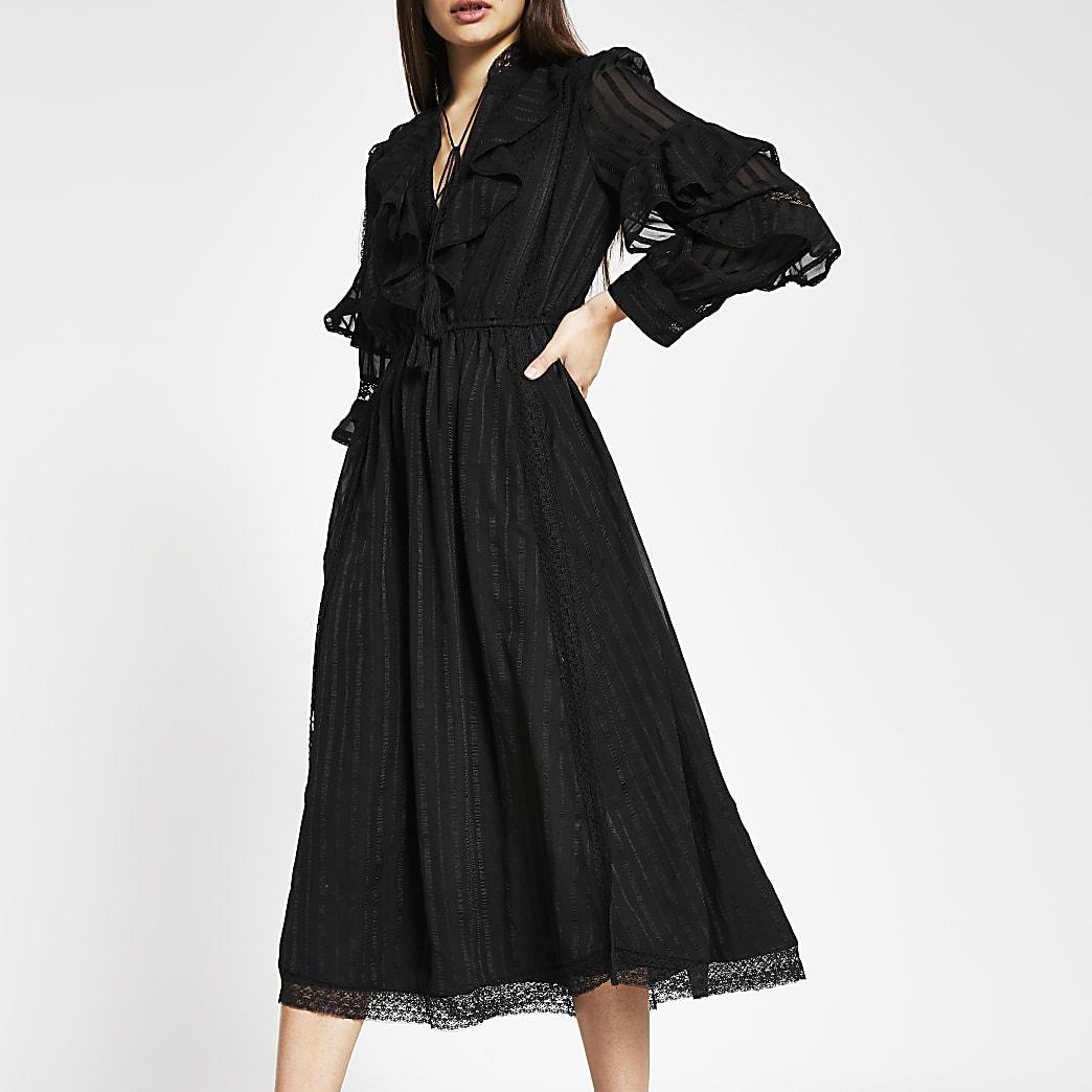 Black long sleeve ruffle midi dress