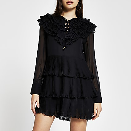 Black Long Sleeve ruffle pleated mini dress