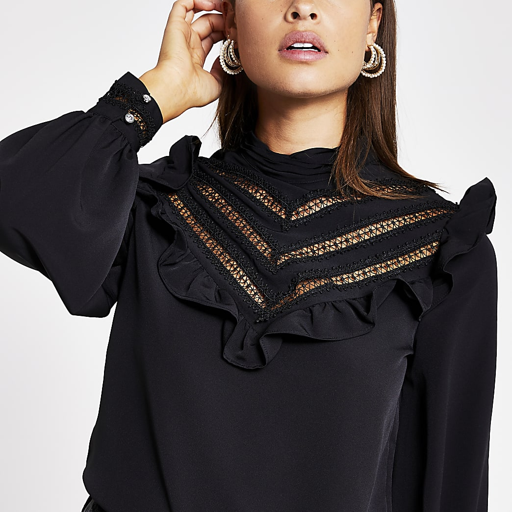 Black Long Sleeve Ruffle Top