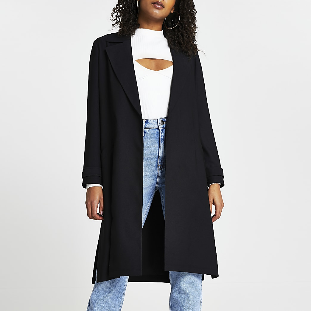 Black long sleeve satin duster