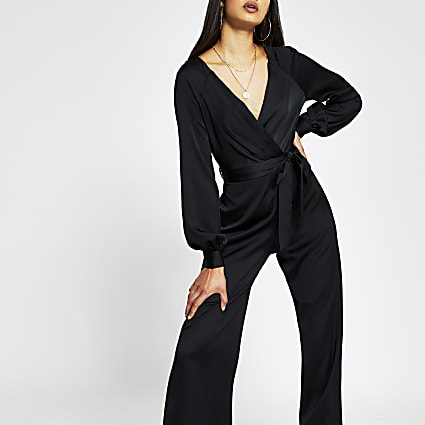 Black long sleeve satin wrap jumpsuit