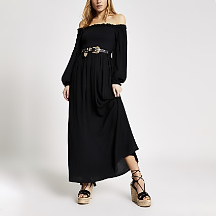 Black long sleeve shirred bardot maxi dress