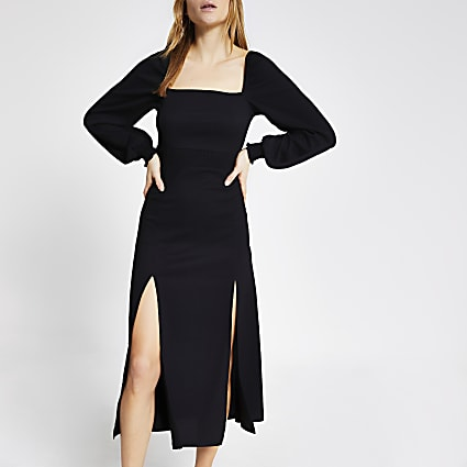 Black long sleeve shirred waist midi dress
