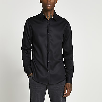 Black long sleeve slim fit collared shirt