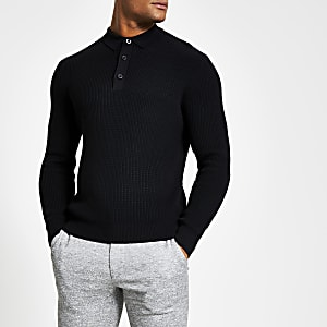 Schwarzes, langärmeliges Slim Fit Strick-Poloshirt