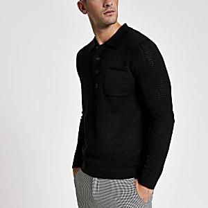 Langärmeliges Slim Fit Strick-Poloshirt in Schwarz