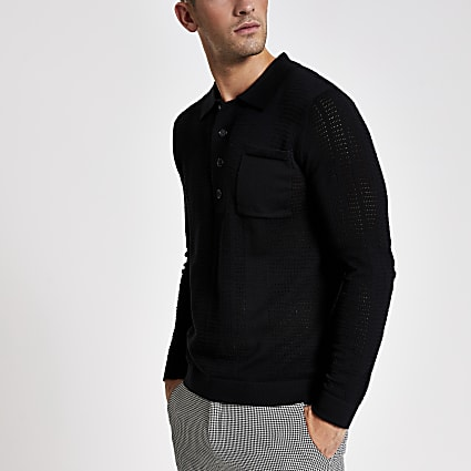 Black long sleeve slim fit knitted polo shirt
