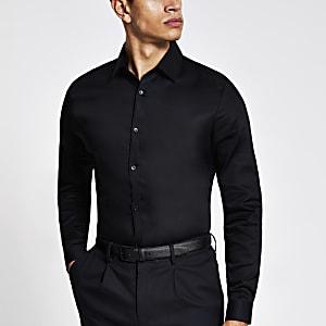 Schwarzes, langärmeliges Slim Fit Premium-Hemd